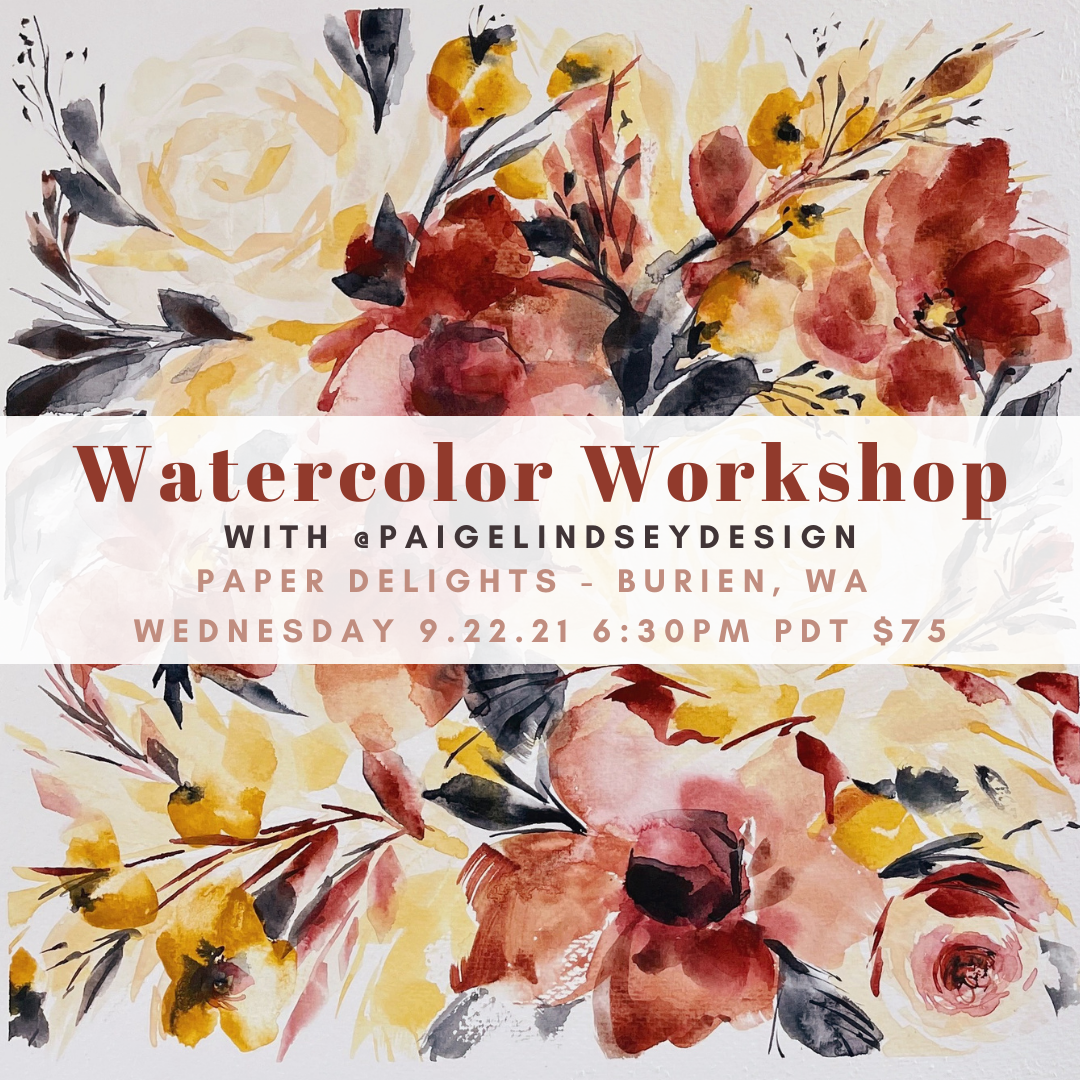 Learn how to paint Fall watercolor flowers at Paper Delights in Burien, WA.