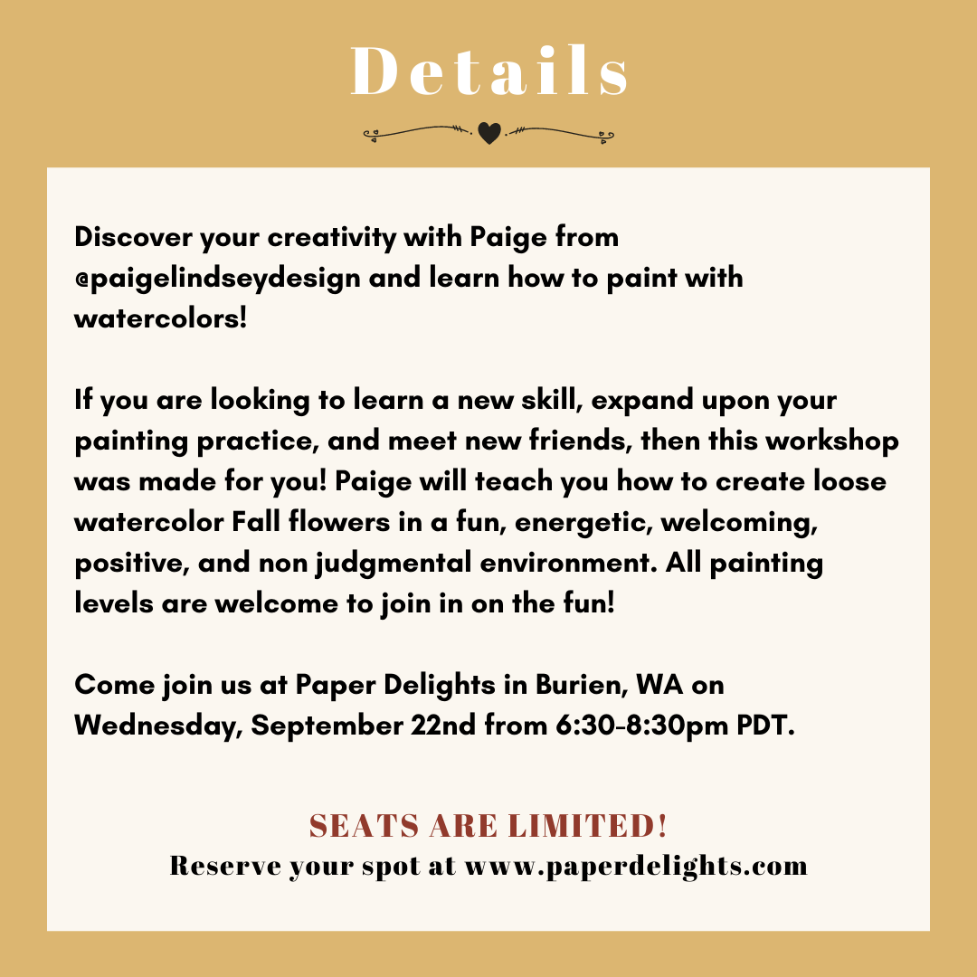 Learn how to paint watercolor Fall flowers at Paper Delights in Burien, WA