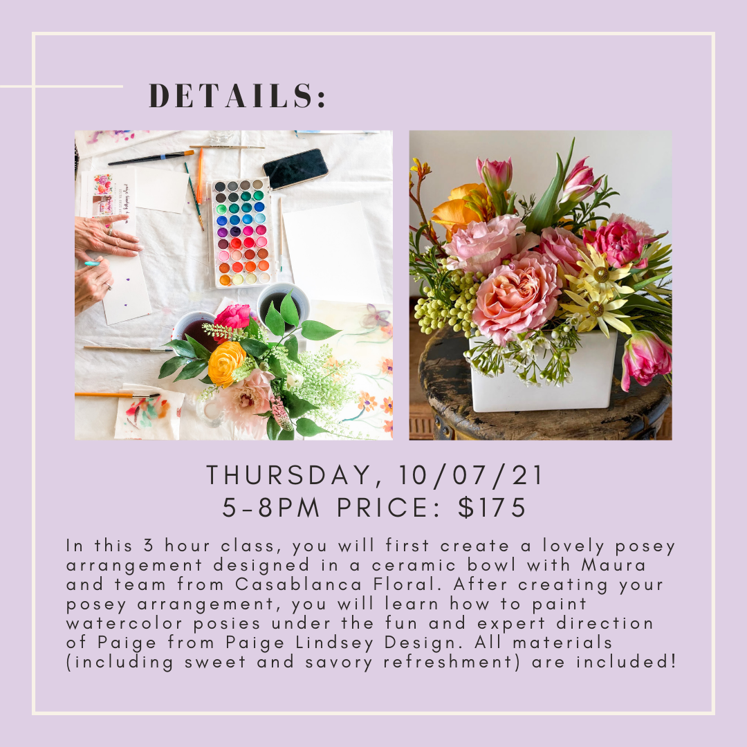 Learn how to make a simple flower arrangement for home decor. Learn how to paint loose watercolor flowers, all painting levels are welcome.