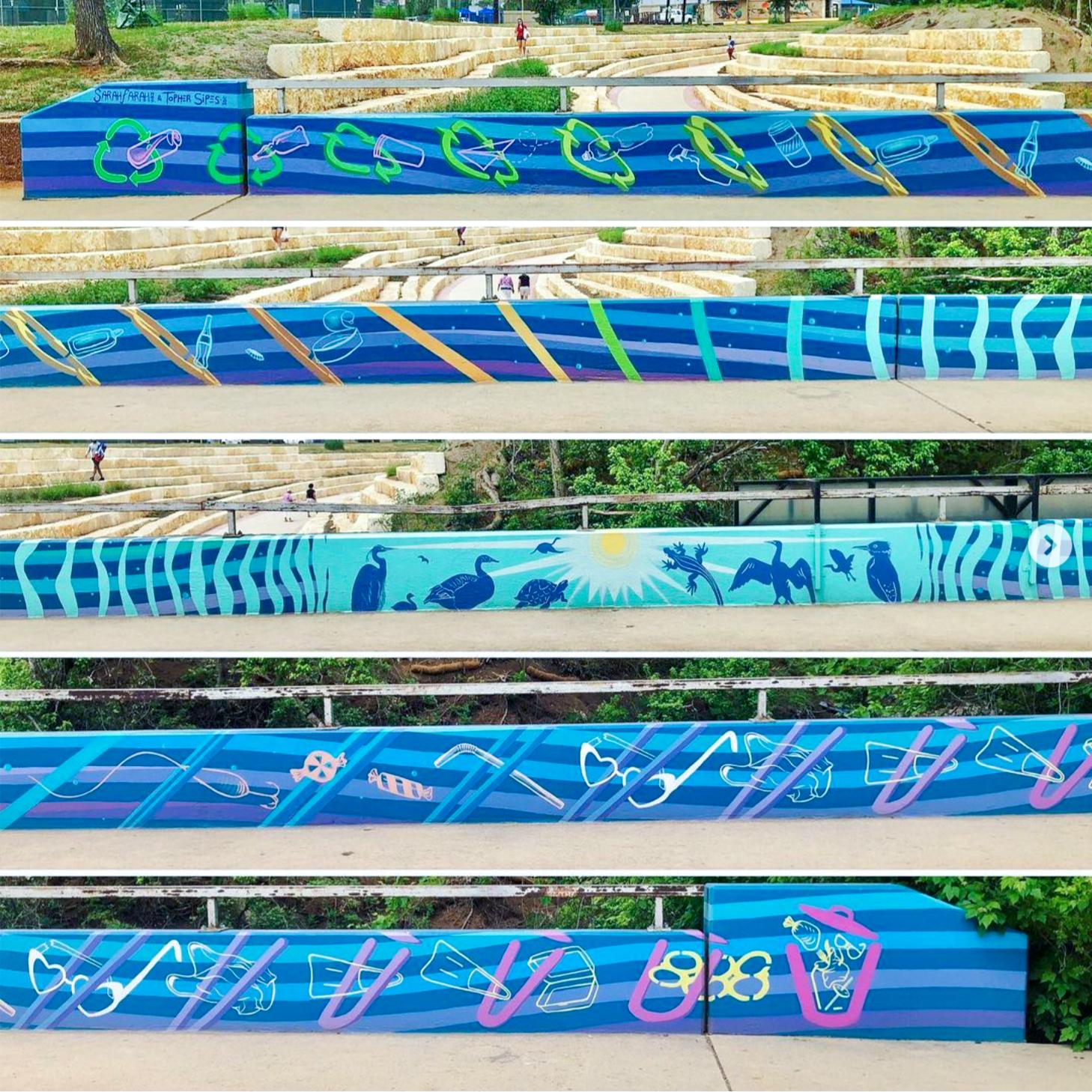 San Marcos Cheatham St bridge mural