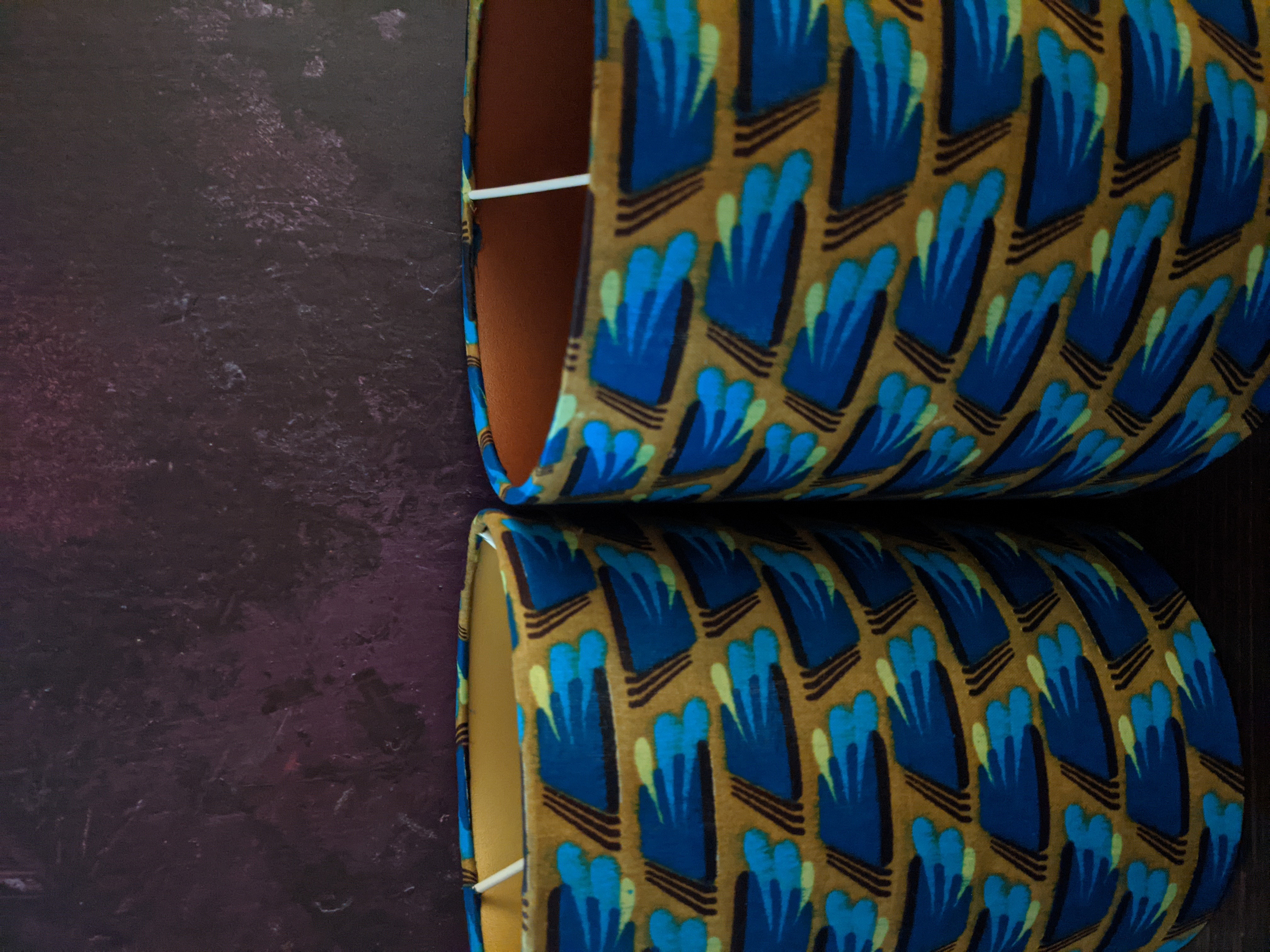 Gold & bronze inner lined table lampshade made in a gorgeous Olive green and blue mid-century modern African wax print fabric