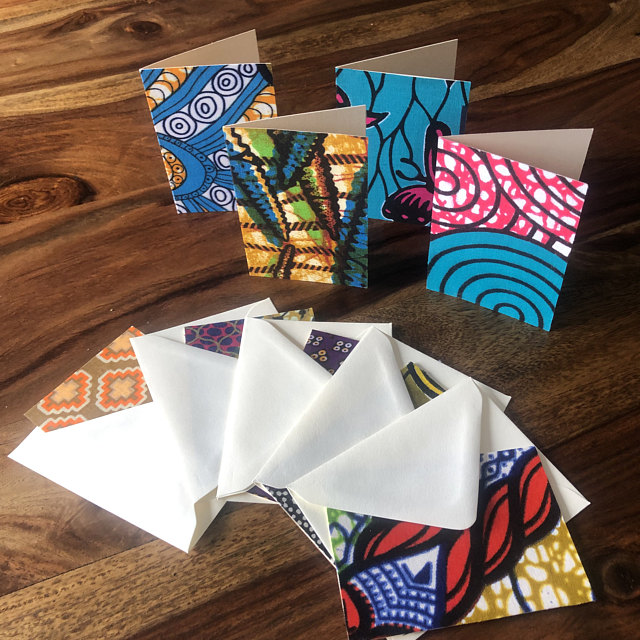 Vibrant handmade blank cards set made with colour african wax print fabric