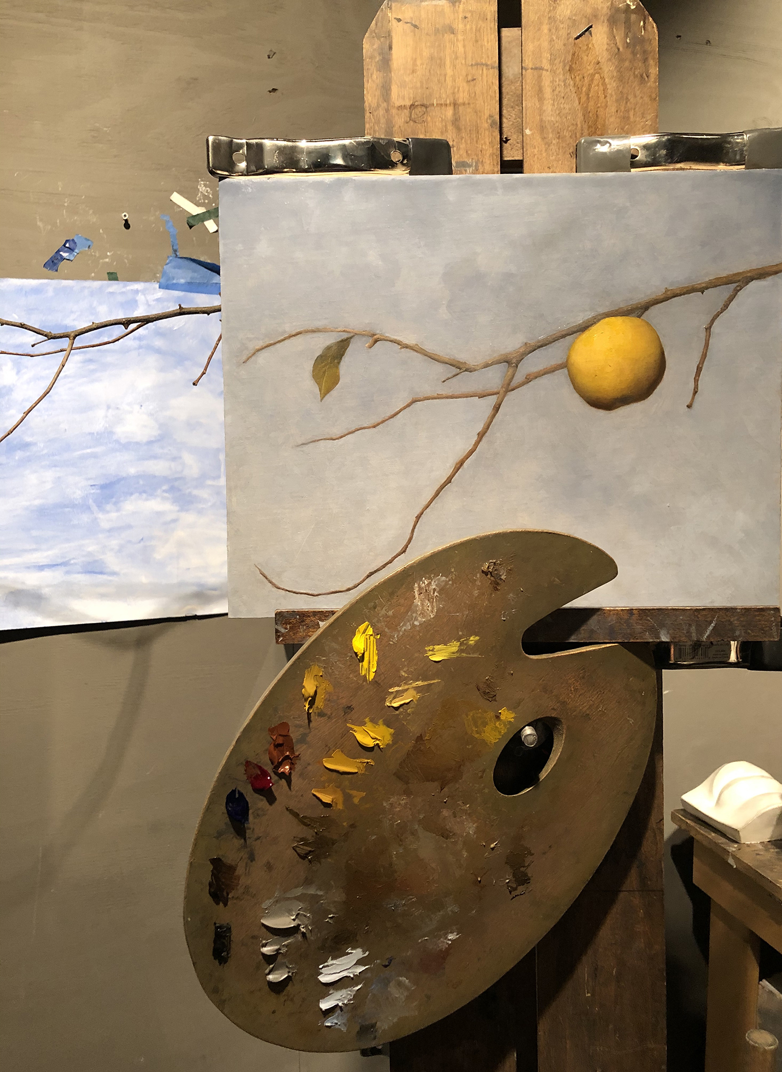 oil painting of quince on a branch