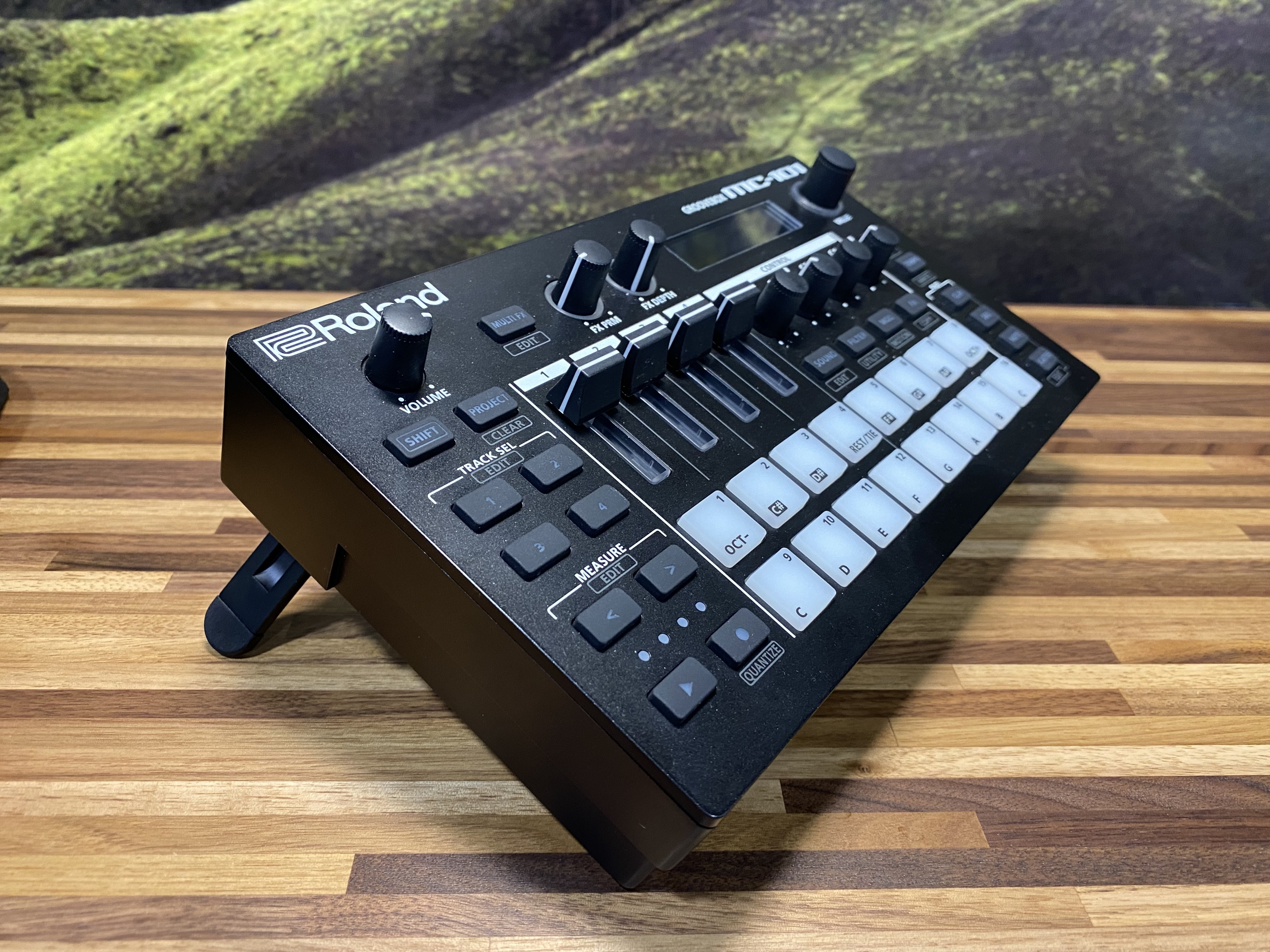 Roland MC-101 angle with stand