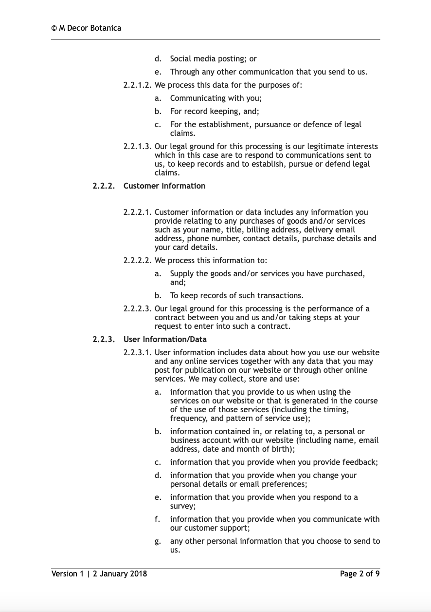 Privacy Policy M Decor Botanica Page 2