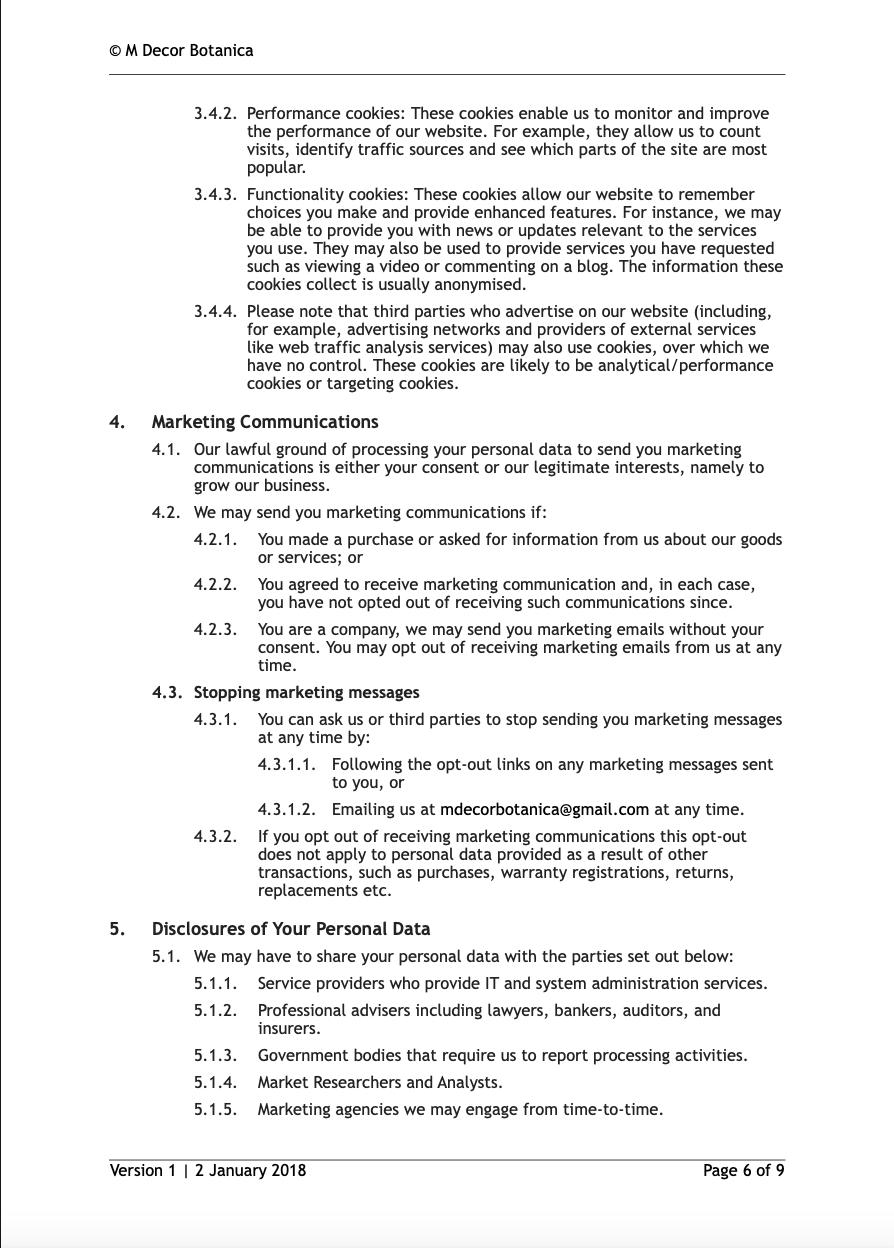 Privacy Policy M Decor Botanica Page 6