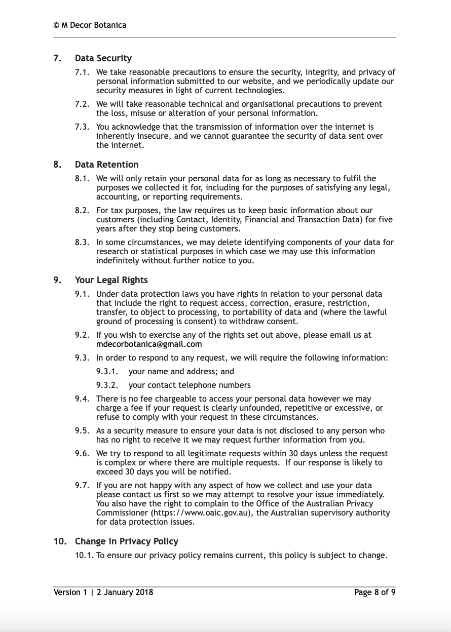 Privacy Policy M Decor Botanica Page 8