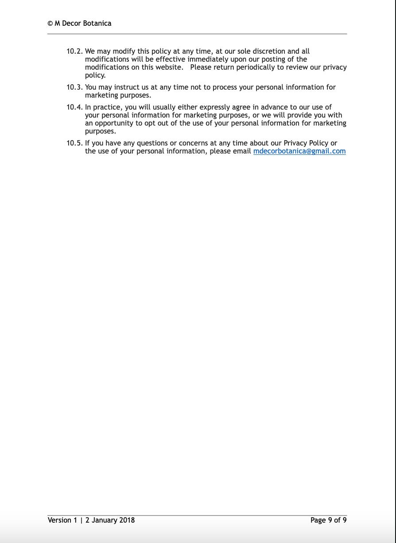 Privacy Policy M Decor Botanica Page 9