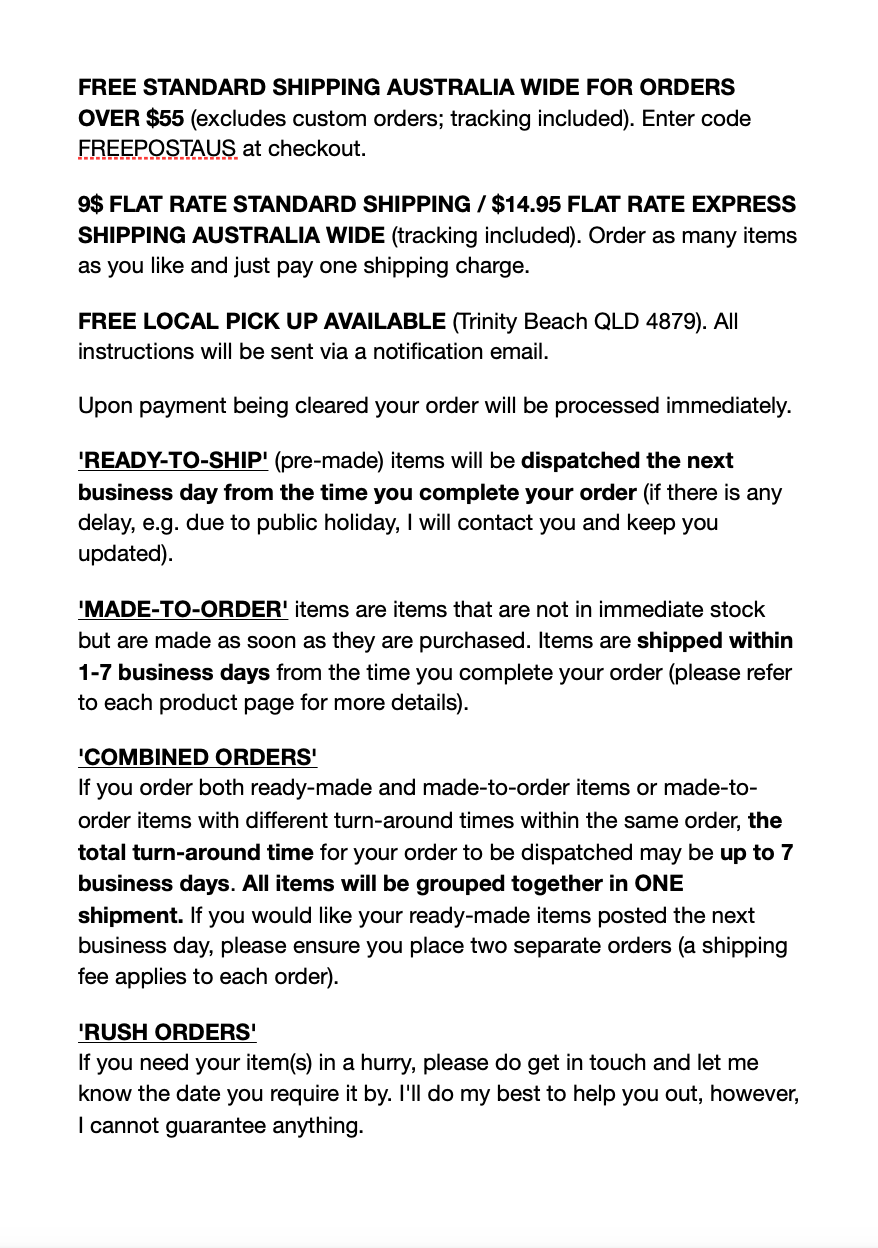 Shipping and Returns M Decor Botanica Page 1