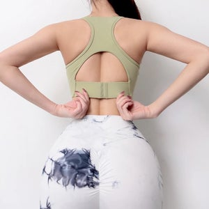 Image of THE KNOT CROP TOP OLIVE GREEN