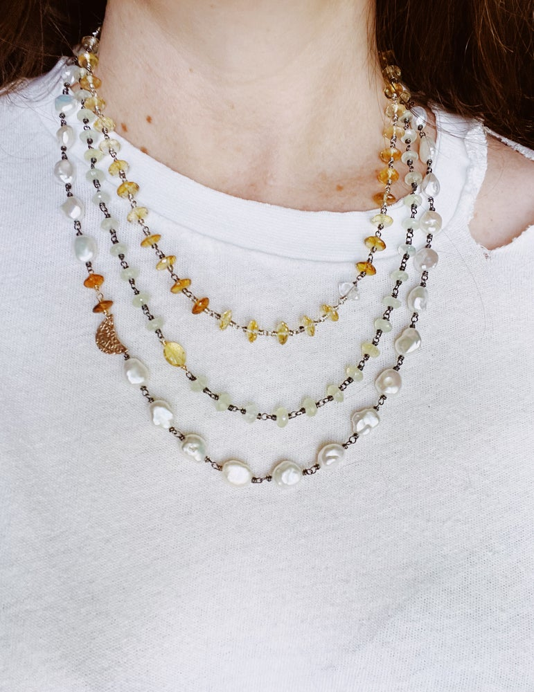 Image of baroque pearl and citrine necklace with 10k rose gold moon