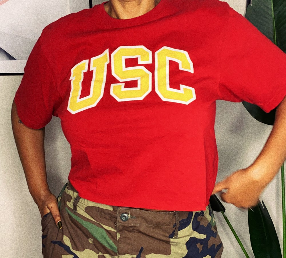 Image of RAEWORKED USC CROPPED TEE-LARGE