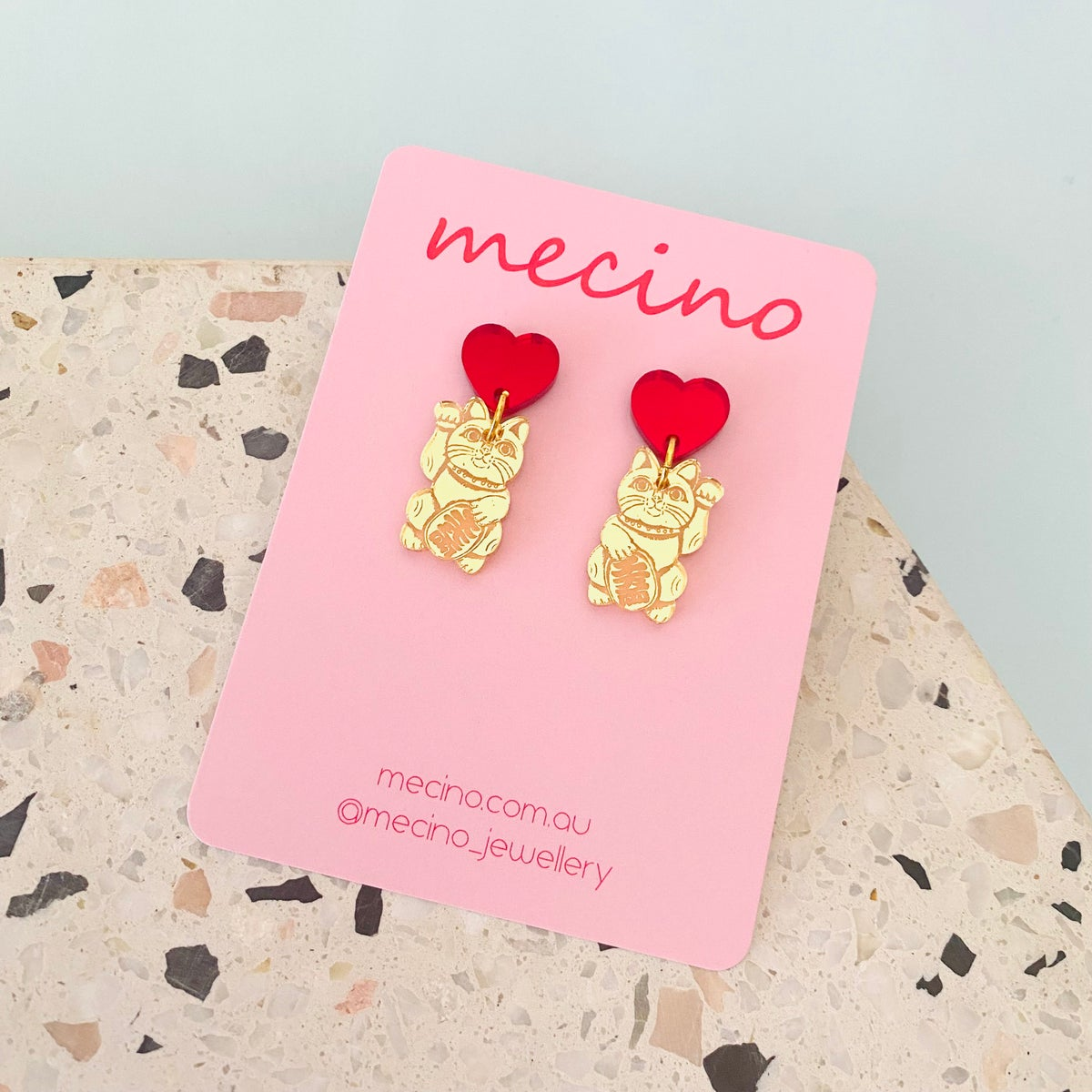 Image of Mini Lucky Cat Drops - Mirrored Gold