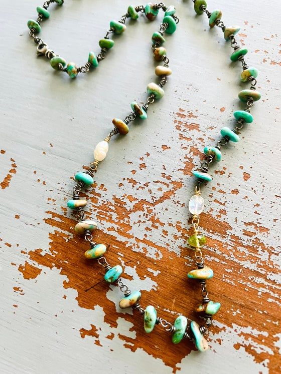 Image of rosary style turquoise and gemstone necklace