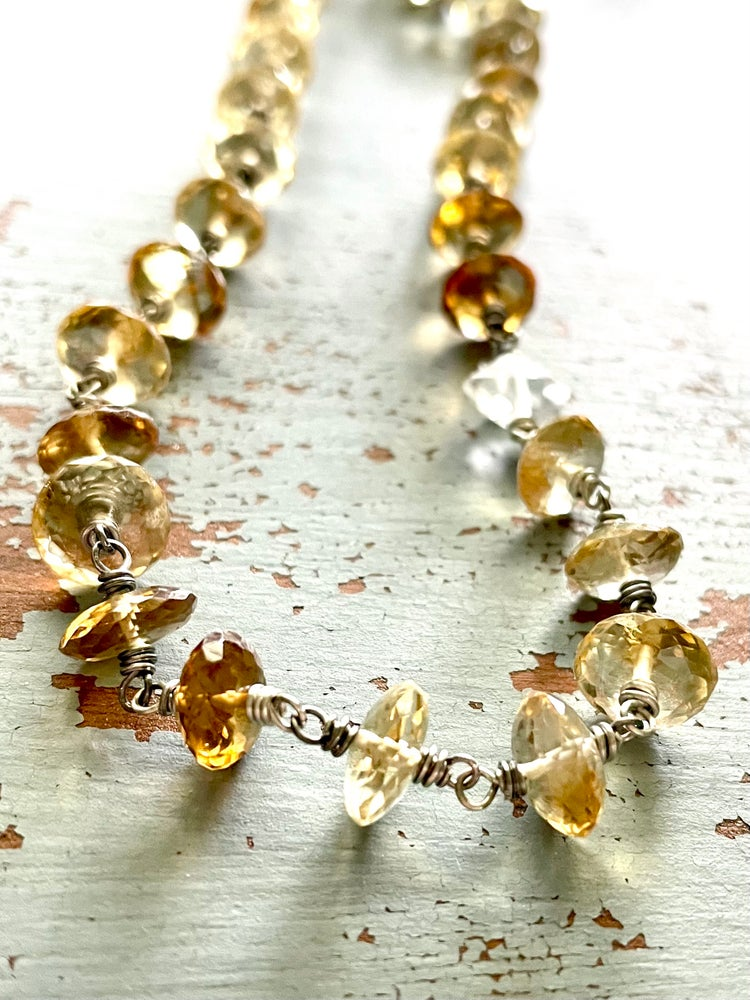 Image of faceted wire wrapped citrine and herkimer diamond necklace