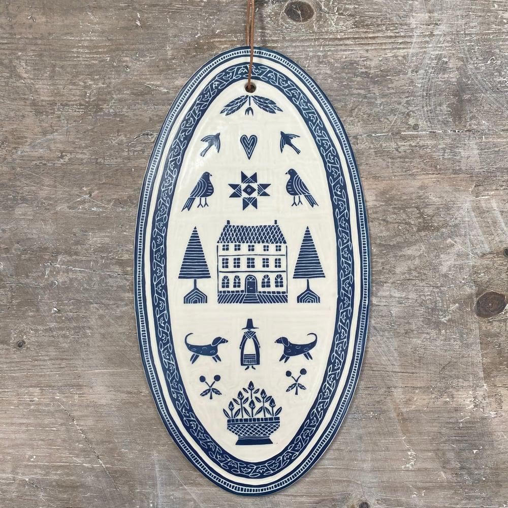 Image of Oval Navy 'Sampler' Hanging Plaque I