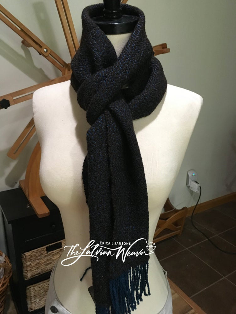 Image of Handwoven Brown/Teal Merino Expanded Birdseye Scarf