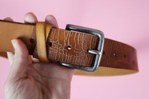 """""""Cracked look"""" Tan Leather Belt"""