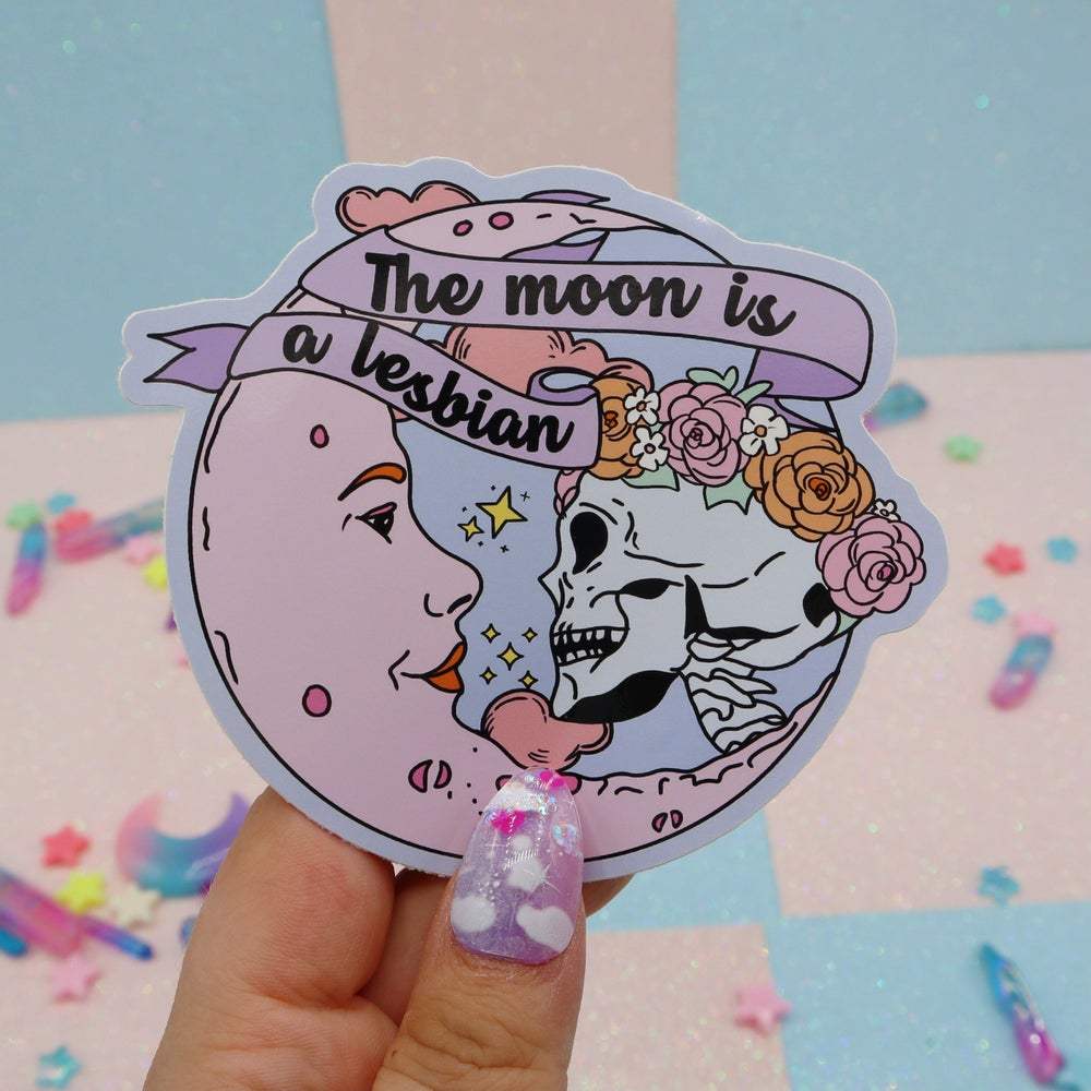 Image of The Moon Is A Lesbian Large Vinyl Sticker