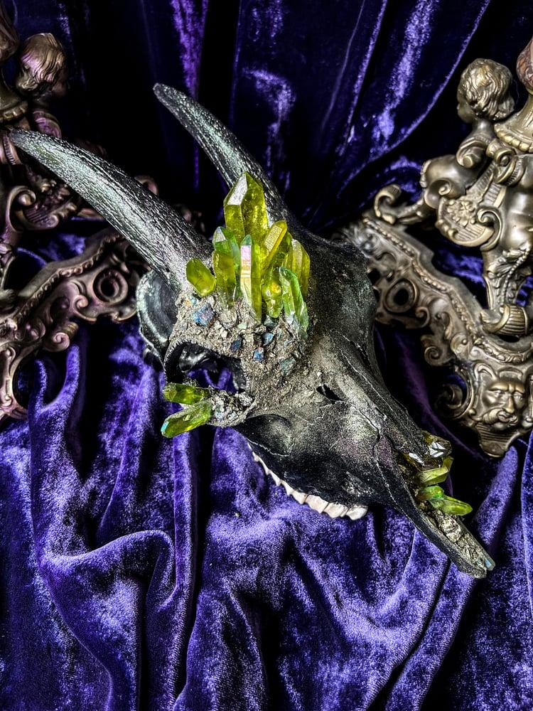 Image of Green Aura Quartz & Chalcopyrite- Goat Skull