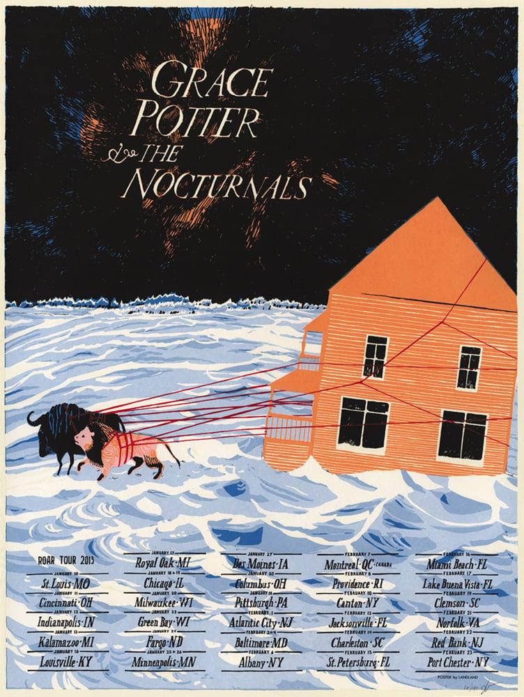 "Grace Potter & the Nocturnals (Roar Tour 2013) •Limited Edition Official Poster (18"" x 24"")"