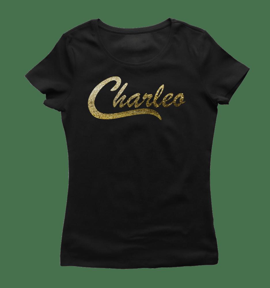 Image of Ladies Original Charleo Tee   Black/Gold Bling