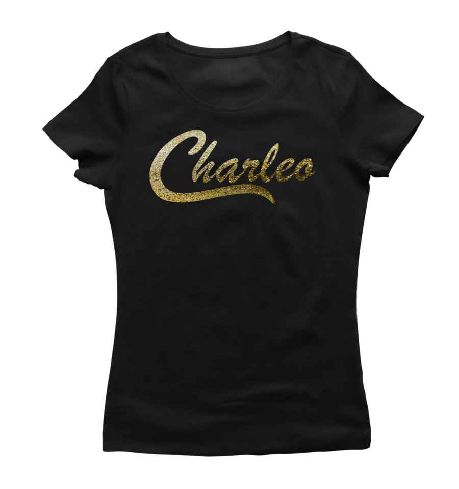 Image of Ladies Original Charleo Tee   Black/Gold Bling