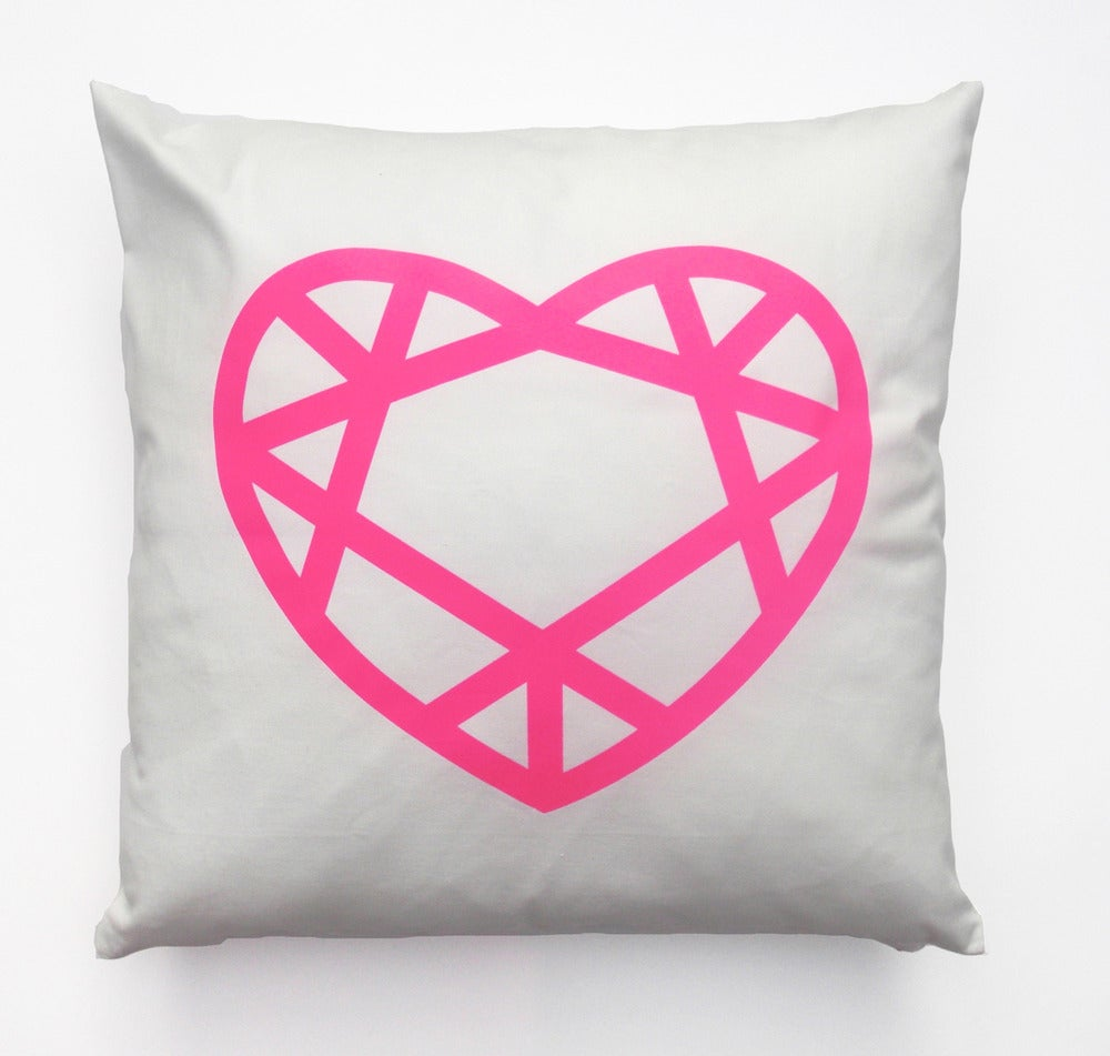 Image of LornaLove cushion : heart [neon pink on white]