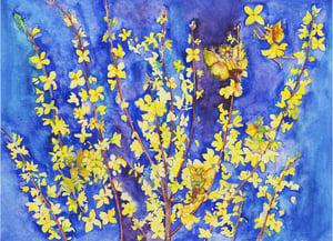 Image of Forsythia Flower Fairies Print