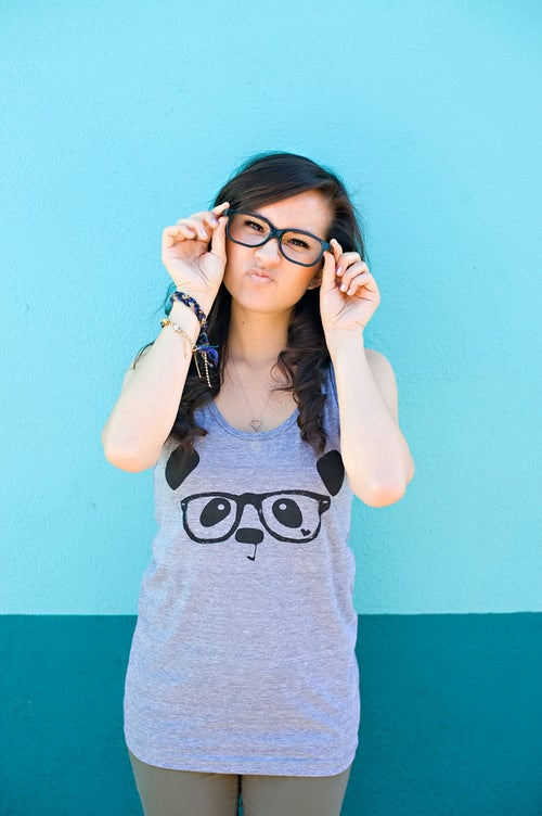 "Image of ""Nerdy Panda"" Tank Top (Heather Grey)"