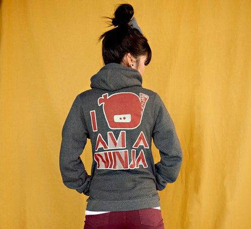 "Image of ""I Am A Ninja"" Zipper Hoodie (Dark Heather Grey)"