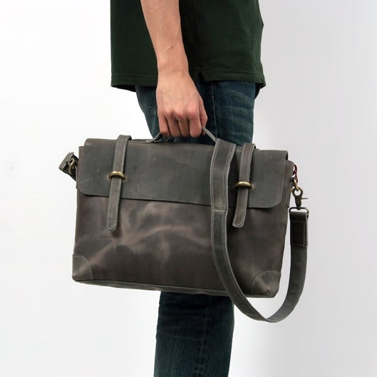 "Image of Vintage Handmade Antique Crazy Horse Leather Briefcase Messenger 14"" Laptop / 13"" MacBook Bag (n366)"