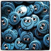 Image of happy blue button