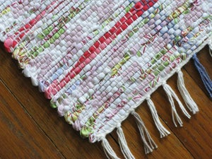 Image of Handwoven Rag Rug - Pink, lime green, lavender, off-white / Eco-Friendly upcycled fabric