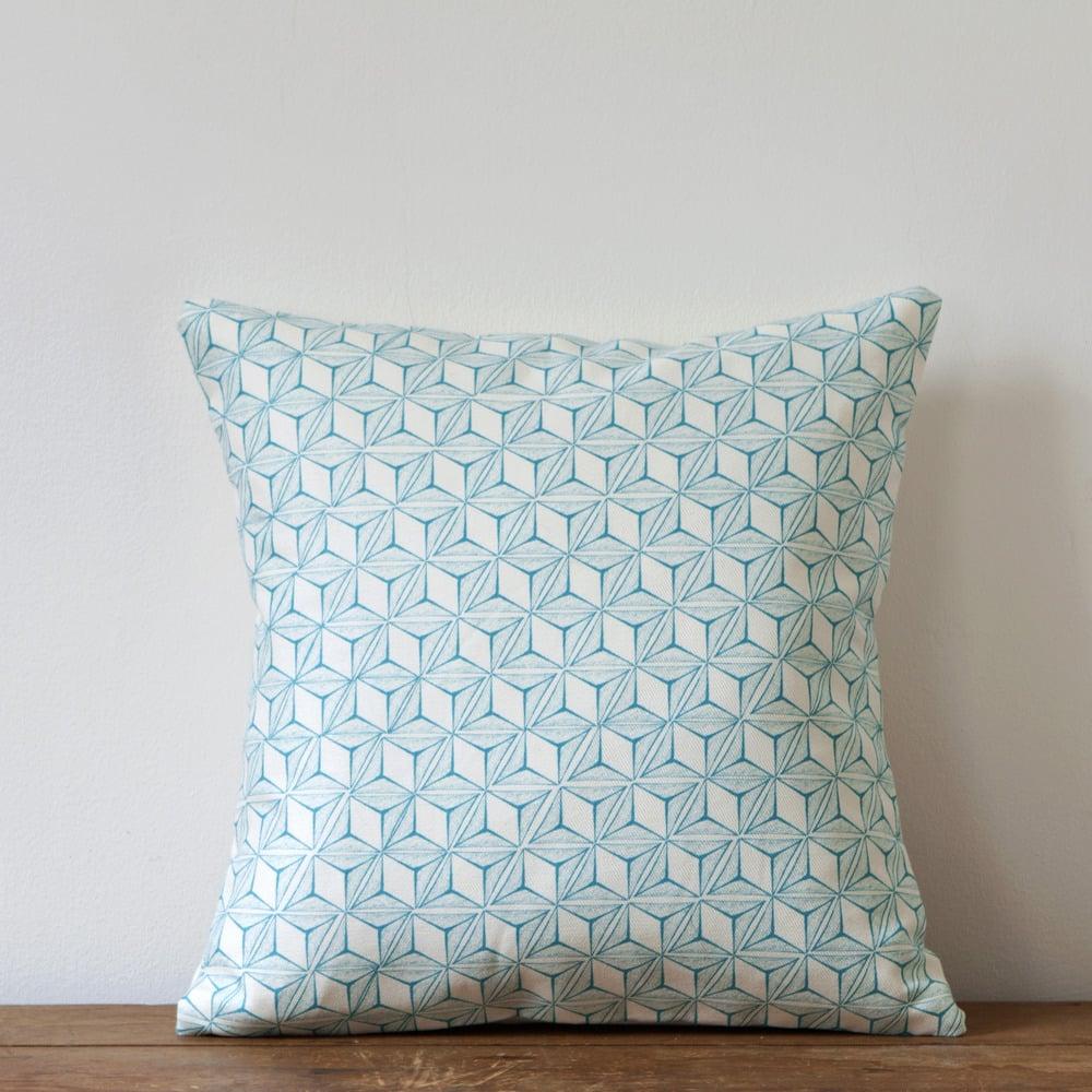 Image of Tumbling Print Cushion, Turquoise Colourway