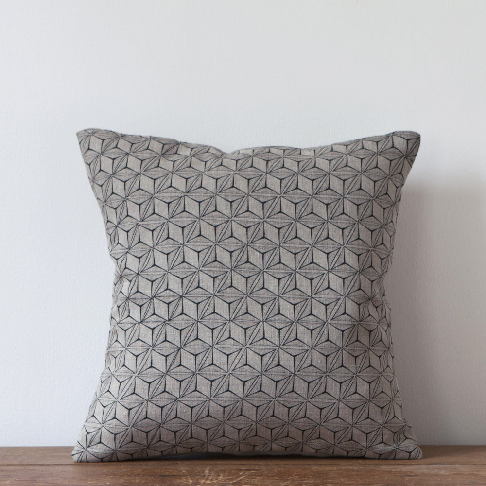 Image of Tumbling Print Cushion, Charcoal Colourway