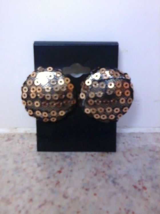 Image of Vekras Gold Sequined handmade stud earrings
