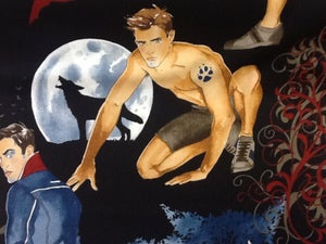 Image of Sexy Pin Up Guy October Moon Vampire Werewolf True Blood Twilight Cotton Fabric Quilt Fabric CR407