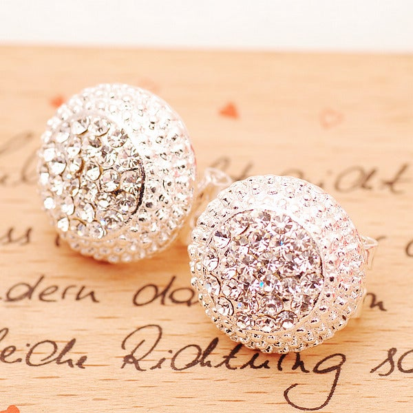 Image of [Grlhx130029 zxy]Shiny Rhinestone Cap Earrings