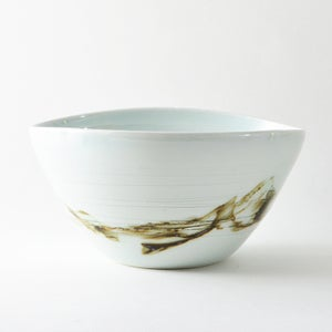 Image of large umber and white porcelain bowl