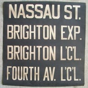 Image of 1930s BMT New York Subway Sign with Routes: BRIGHTON BEACH 24x25 Inches