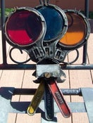 Image of 1930s New York Subway Adlake Tri-Color Route Indicator, 13 inches tall