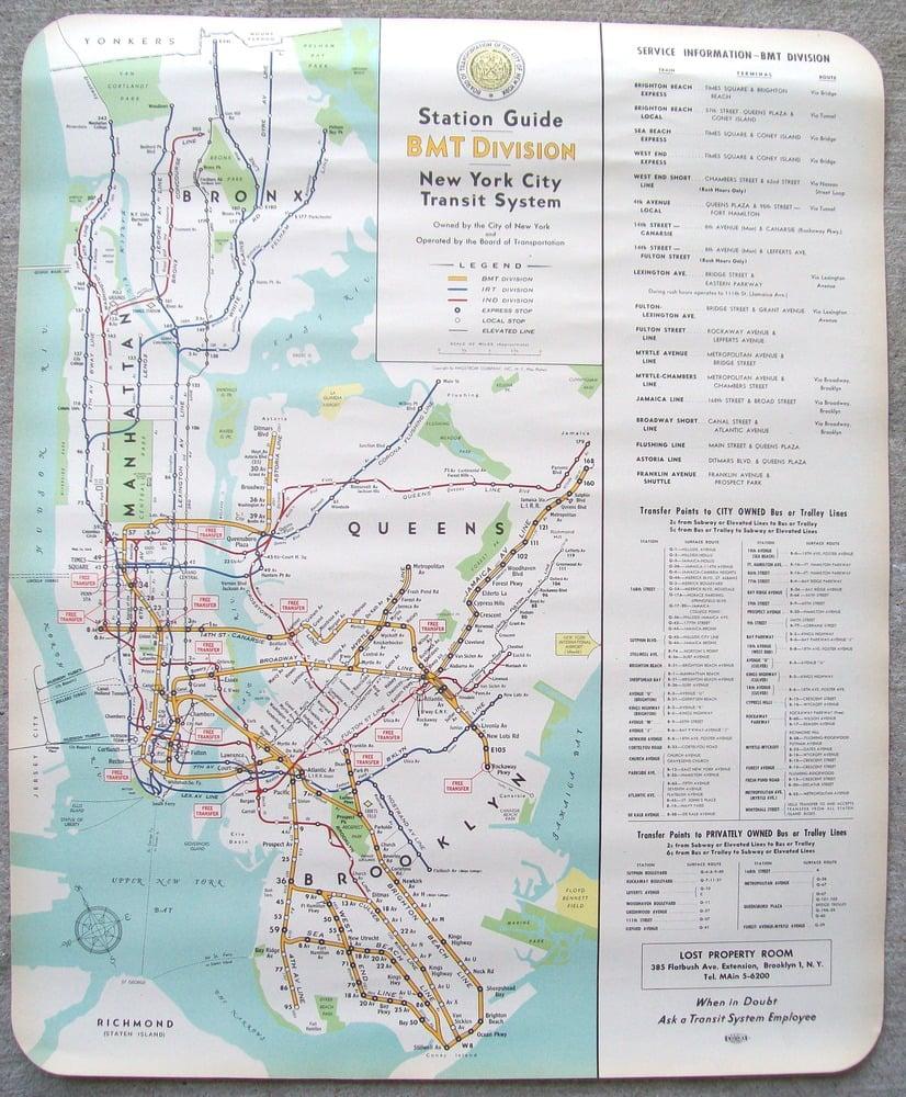 Printed Nyc Subway Map.Original 1948 New York Subway Map By Hagstrom 23x28 Inches