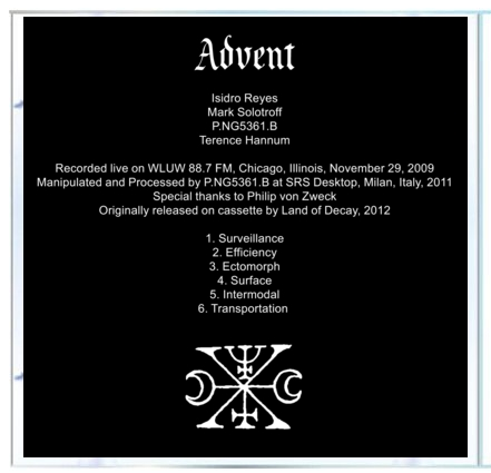 "B!174 The Fortieth Day + Sshe Retina Stimulants + Terence Hannum ""Advent"" CD"