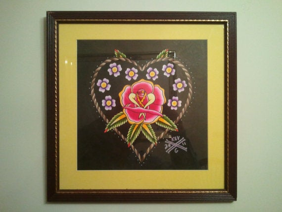 29c43dc8d Image of Heart and Rose Tattoo Flash Watercolor Painting