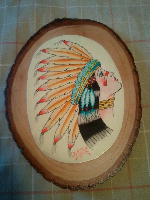 08c71b359 Image of Indian Pinup Girl Original Watercolor painting Tattoo Flash Style  on Natural Wood Plaque