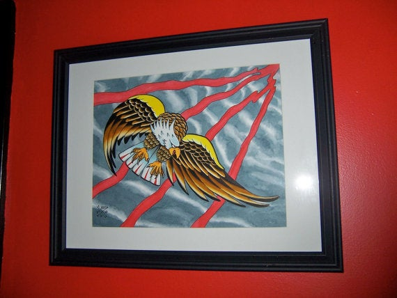 6e7604d18 Tattooing by Kev G — Bald Eagle Tattoo flash style watercolor ...