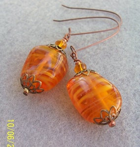 Image of Tasty Caramel/ Amber Lampwork Glass Earrings