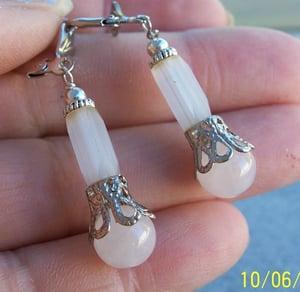 Image of Sweet Rose Quartz Vintage Bead Earrings