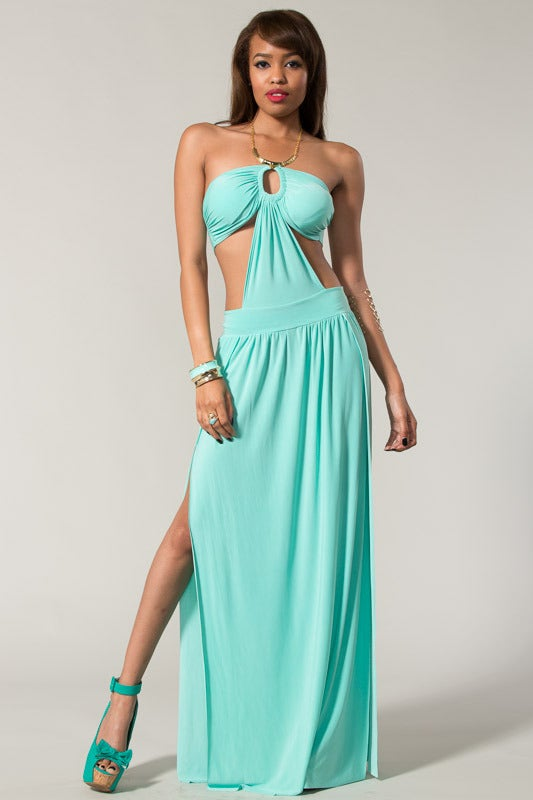 Image of Sexy Halter Dress With A Slit Open Leg